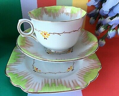 Vintage 1940's Melba Bone China Floral Tea Set Trio,Teacup,Saucer & Tea Plate