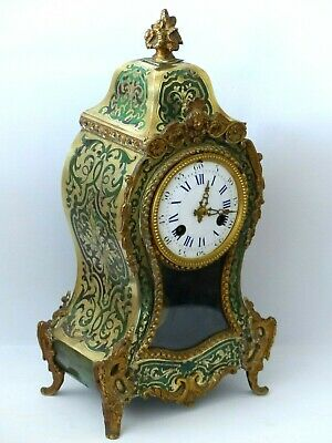 RARE Antique GREEN Boulle 19th Century French faux Tortoiseshell / Brass Clock