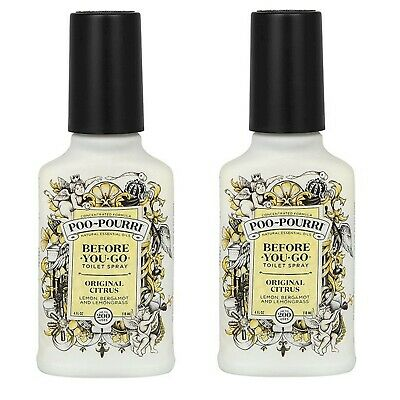 Set of Two Large Poo-Pourri Original Lemon Before You Go Toilet Spray 4oz 118 ml