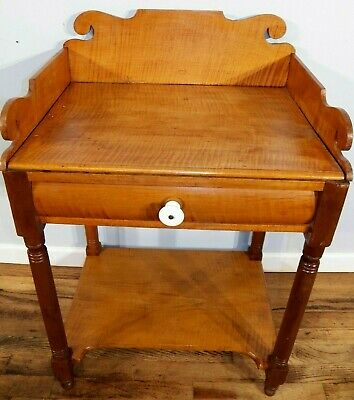 TIGER MAPLE Single Drawer Bedside Nightstand Antique Washstand lamp table curly