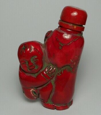 Authentic Carved Red Coral Chinese Snuff Bottle