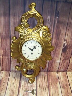 Smiths 8 Day 4 Jewel Painted Gold Wall Clock With Key