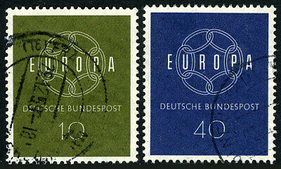 Germany 805-806, Used. EUROPA CEPT. 6-Link Endless Chain, 1959