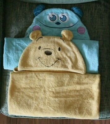 Disney Baby Winnie The Pooh Bear and Monster's Inc Sully Hooded Towels