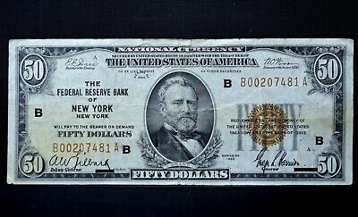 1929 $50 Federal Reserve National Bank Note ✪ New York ✪ Vf Very Fine ◢Trusted◣