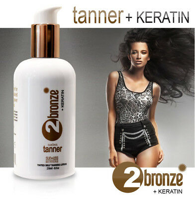 Sunless self Tanner 2Bronze + Keratin Tanning Lotion. Instant Bronzer for All...