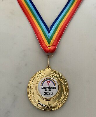 Lockdown Quiz Medal. 50mm Metal Medal With Rainbow Ribbon. Lockdown Zoom