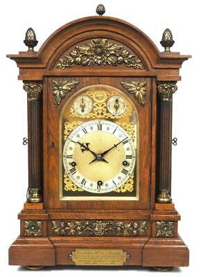 English Musical Bracket Clock 8 Day Coiled Gong Chiming Boardroom Mantel Clock