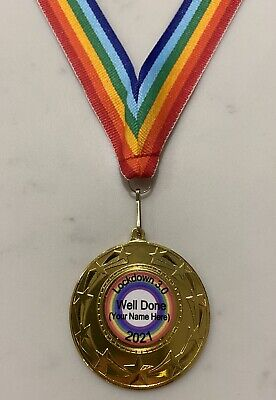 Personalised Lockdown 2020 Well Done Medal 50mm Metal Medal + Rainbow Ribbon