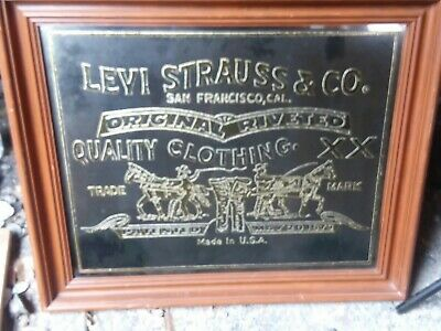 Rare Vintage Levi Strauss Mirror Advertising Sign Gold Leaf Decor Acid Etched