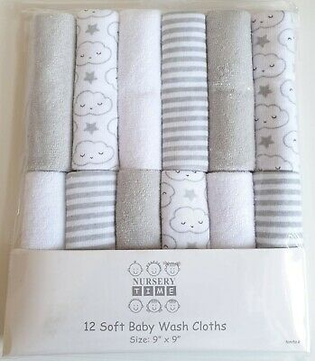 Baby Boy Girl Soft Wash Cloths Towel Face Wipes Flannel Pack of 12 Grey Clouds