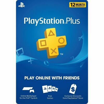 12 Month Playstation Plus PSN Membership Card - 1 Year, North America Region