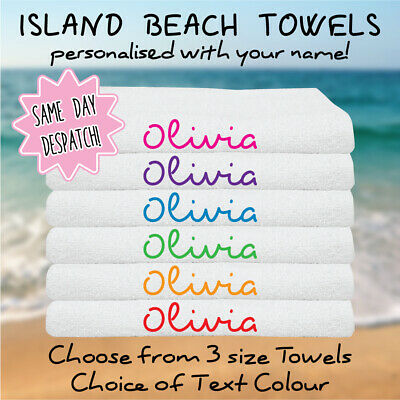 Personalised Towels - Love Island Inspired Beach Towel, Add Your Name, 3 Sizes