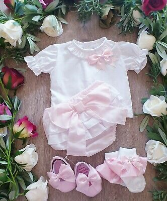 Baby Girls Spanish Romper Jam Pants Set With Frill Collar And Bow