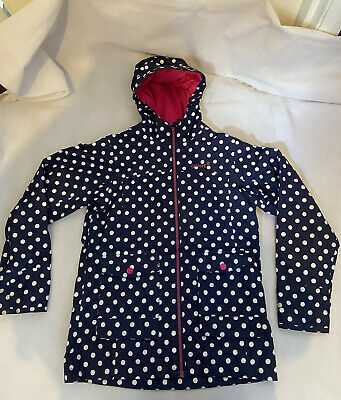 GELERT Outdoors Walking Navy Blue Polka Dot Raincoat Waterproof Hooded 11-12 Yrs