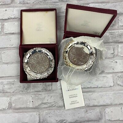 12 Embossed Silver Plated CREA Coasters Milano Italy 2 Velvet Boxes Certificates