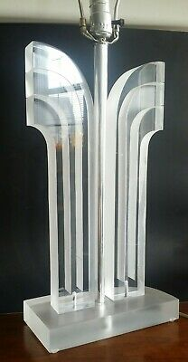 VTg Lucite table lamp, handcrafted sculptural clear acrylic
