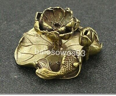 Chinese antique pure brass carved lotus flower fish lucky Small ornaments AAA