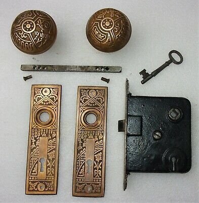 Antique Set EASTLAKE VICTORIAN Backplates Door Knobs Mortise Lock w/ Key
