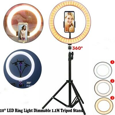 10'' LED Ring Light Dimmable Tripod & Stand for Youtube Live Selfie Video Makeup