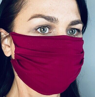 Face Mask Reusable Washable Adjustable Soft One size in Burgundy