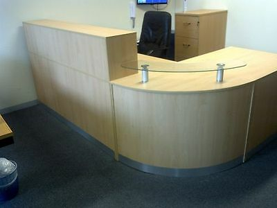 Reception Desk Maple Beech Or Oak Curved Glass Unit Reception Desk Counter
