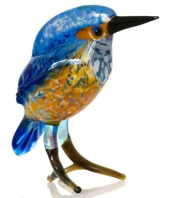 "Bird Blue, Figurine, Blown Glass ""Murano"" Art Kingfisher. Gift for her"