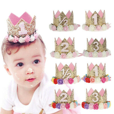 EY_ EE_ Princess Baby Girl 1st Birthday Flower Crown Party 1&2 Year Hairband Tia
