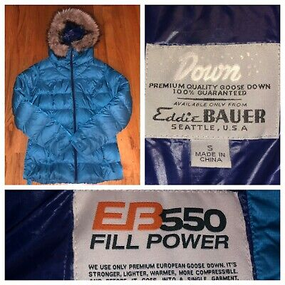 Eddie Bauer Women's Blue Full Zip Faux Fur Lodge 550 Down Parka Jacket Sz Small