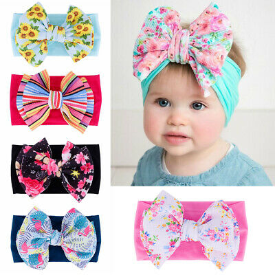 Headwear Kids Girls Big Bow Newborn Headwraps Baby Nylon Headband Knot Turban