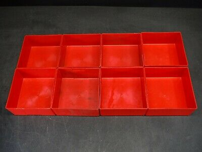 "Used Lot of 8 Lista PB-9 6"" x 6"" x 2 3/4"" Plastic Drawer Bins Cups 9F"