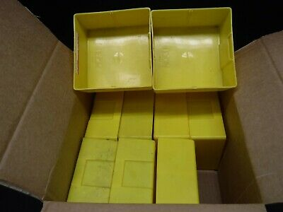 "USED LOT 9 LYON 6"" x 6"" x 3"" Yellow Plastic Box Bin Drawer 663 B"
