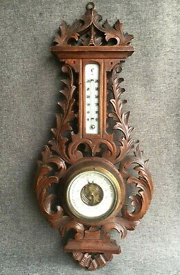 Antique black forest barometer thermometer wood early 1900's Germany woodwork