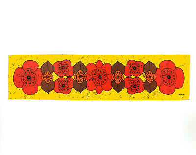 Vintage 1960s 70s Long Yellow Flowers Fabric Table Runner Wall Hanging - Signed