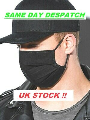 Cotton Face Mask Black Quality  Mounth Cover Reusable Handmade Uk Stock Unisex