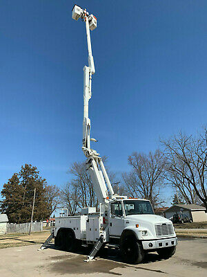 2000 Freightilner FL80 Altec 73' Over Center Material Handler Bucket Boom Truck