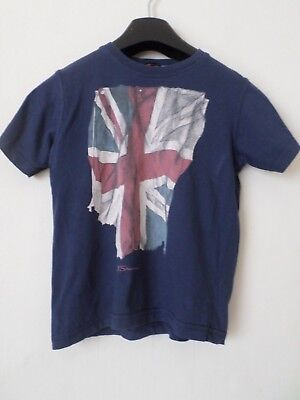 Boys Ben Sherman 100% Cotton Navy Blue Union Jack T-Shirt Top Age: 6-7 Years