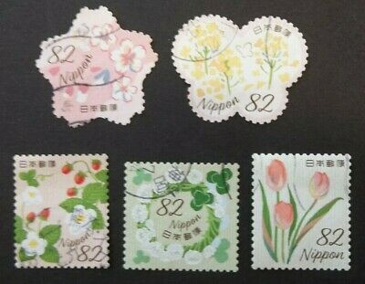 JAPAN USED 2019 SPRING GREETINGS 82 yen 10 VALUE VF COMPLETE SET SC 4276 a - e