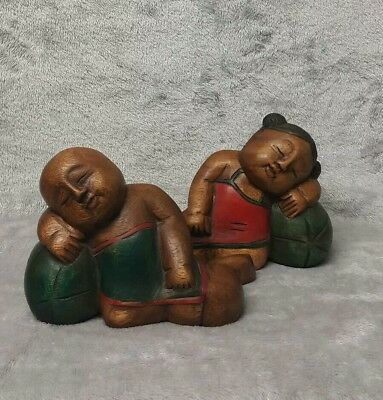 Large Antique/ Vintage Chinese c.20th Hand Carved Wooden Figurine Girl with Boy