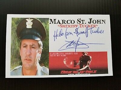 """""""Friday The 13Th Part V"""" Marco St. John Autographed 3X5 Index Card"""