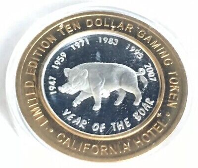 $10 Sam Boyd California Hotel Zodiac Year Of The Boar .999 Fine Silver Strikes