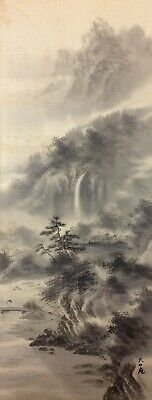 Beautiful Japanese Chinese School Scroll Painting 20th C Ink On Silk Sansui