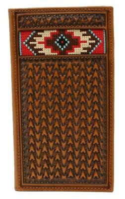 Ariat Western Mens Wallet Leather Rodeo Embossed Embroidery Inlay Tan A3543408