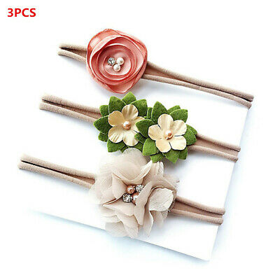 Girls Toddler Kids Pearl Flower Nylon Hairband Baby Headband Hair Accessories