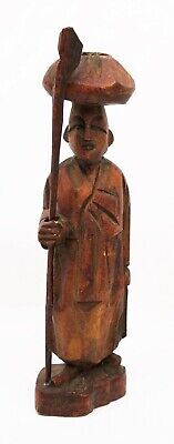 Antique Chinese Wood Carved Man with Cane Figure Statue