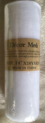 """White Deco Poly Mesh New In Packaging 30 Feet 2 Rolls NIP 10"""" X 10 Yards"""