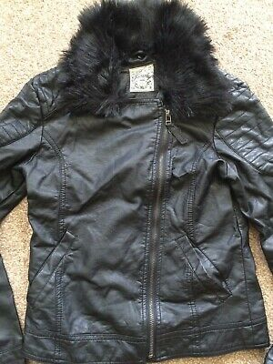 Girls Black Faux Leather Jacket Size 12/13Yrs Height 152-158cm by Tammy Girl BHS