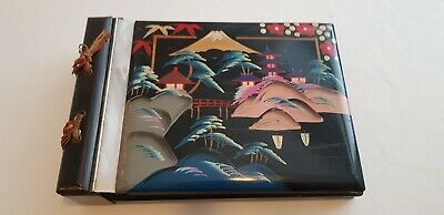 Vintage Hand Painted Lacquered Japanese Music Box, Photo Album