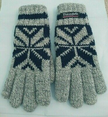 THINSULATE Thermal Insulation Lined Women's Size S Gray and Blue Winter Gloves