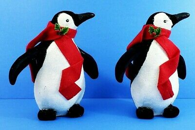 """Standing Christmas Penguin Figurines W/Red Scarves 9.5"""" x 4.5"""" Set Of 2"""